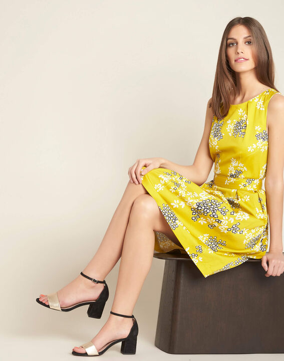 Irma yellow corolla printed dress (2) - 1-2-3