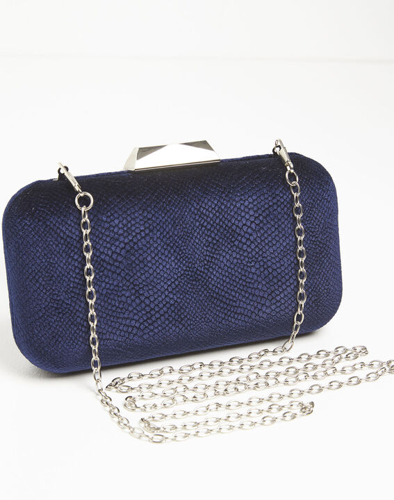 Ines navy blue velvet clutch bag (2) - 1-2-3