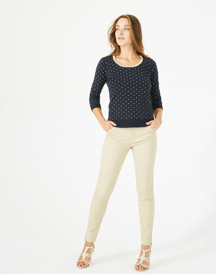 Prisme navy blue sweater with golden polka dot detailing and a rounded neckline PhotoZ | 1-2-3