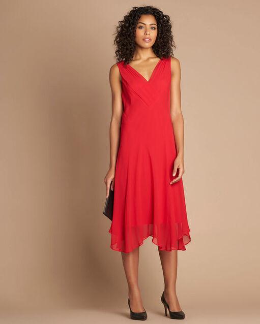 Robe rouge mi-longue dansante en soie Foret (1) - 1-2-3