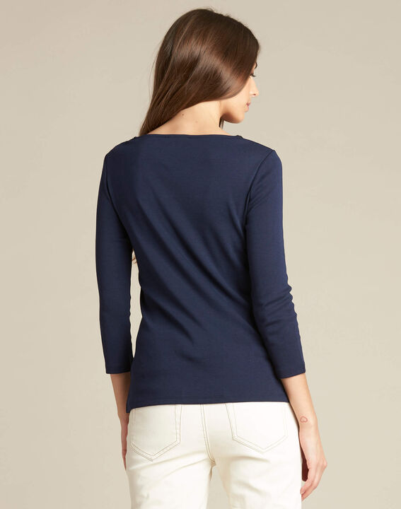 Basic navy blue T-shirt with rounded neckline and eyelets (4) - 1-2-3