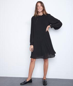 Robe courte trapèze plissée noire Sylena