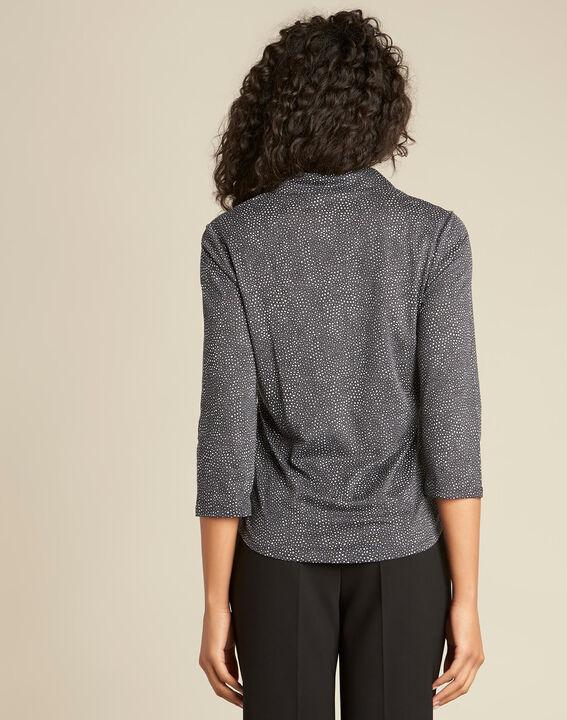 Schwarzes Polo-Shirt mit Tupfen-Print Laura (4) - 1-2-3
