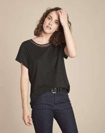 Tee-shirt noir en lin encolure fantaisie panette noir.