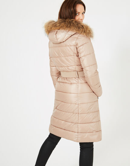 Louna long beige puffer jacket with faux fur (3) - 1-2-3