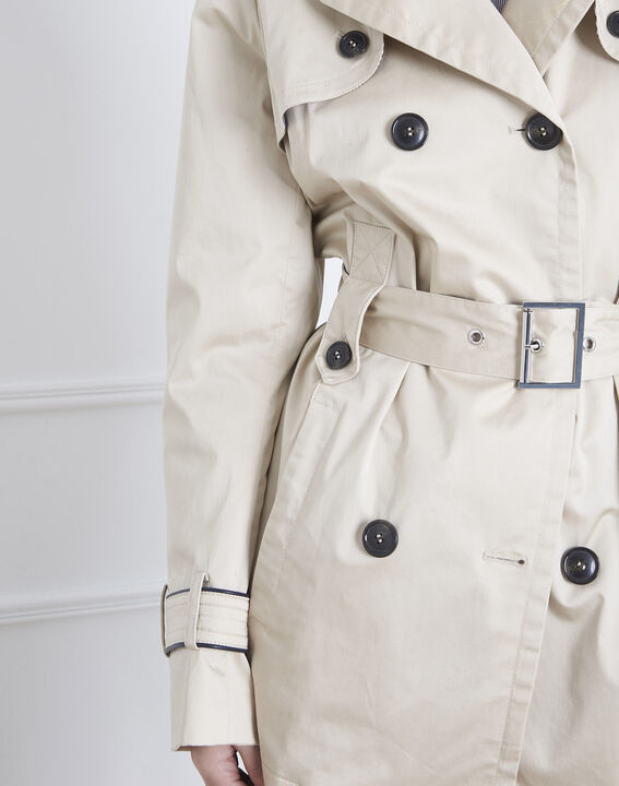 Dorine short beige trench coat with contrasting bias (3) - Maison 123