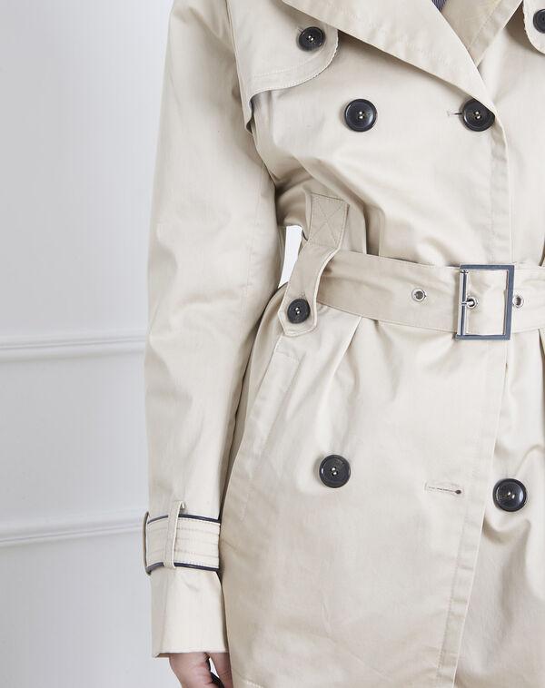 Dorine short beige trench coat with contrasting bias (2) - Maison 123 ... 084c8ec042