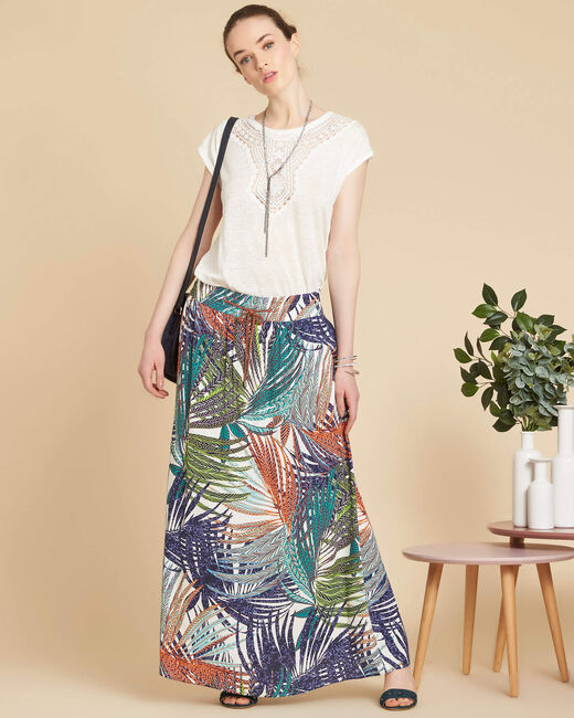 Lucius palm printed long navy blue skirt (1) - 1-2-3