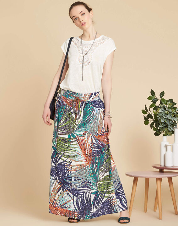 Lucius palm printed long navy blue skirt (2) - 1-2-3