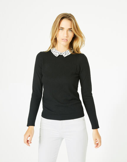 Pretty black sweater with stylish neckline (3) - 1-2-3