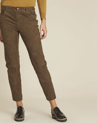 Pantalon kaki en cuir velours houston feuille.
