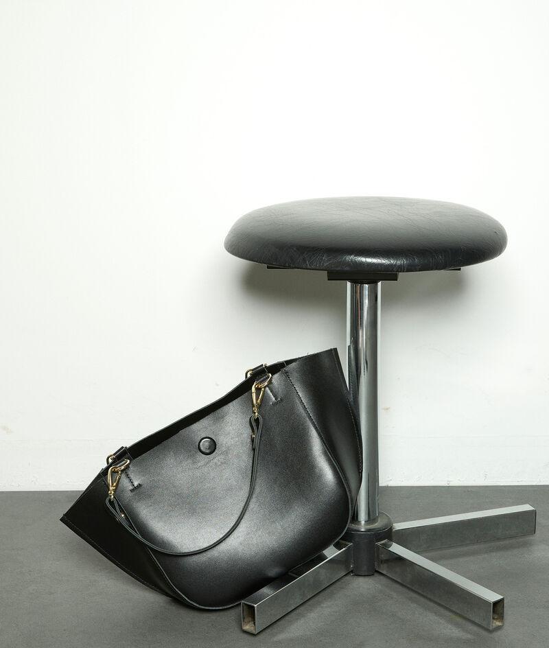 Sac demi-lune moyen en cuir noir Emilie PhotoZ | 1-2-3