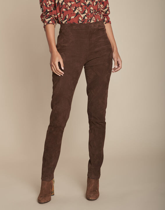 Pantalon legging marron en cuir velours Elsa PhotoZ | 1-2-3