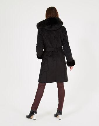 Manteau noir mi-long en peau lainée lemilia noir.