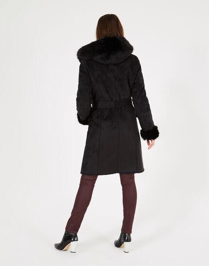 Manteau noir mi-long en peau lainée Lemilia (1) - 1-2-3
