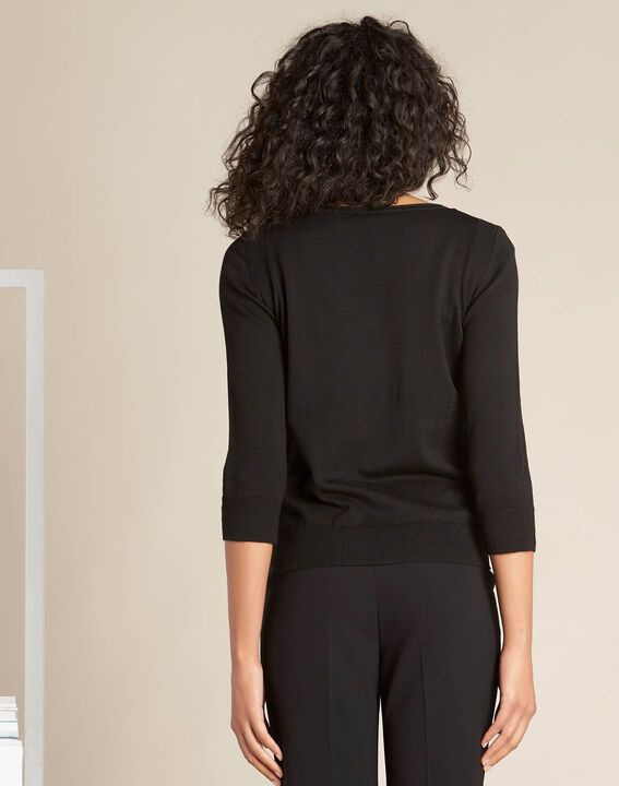 Nouette black V-neck sweater with embroidery (4) - 1-2-3