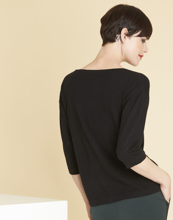 Betty black sweater with decorative detailing on the shoulders (4) - 1-2-3
