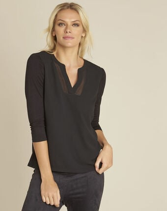 Bianca black t-shirt with granddad neckline and 3/4 length sleeves black.
