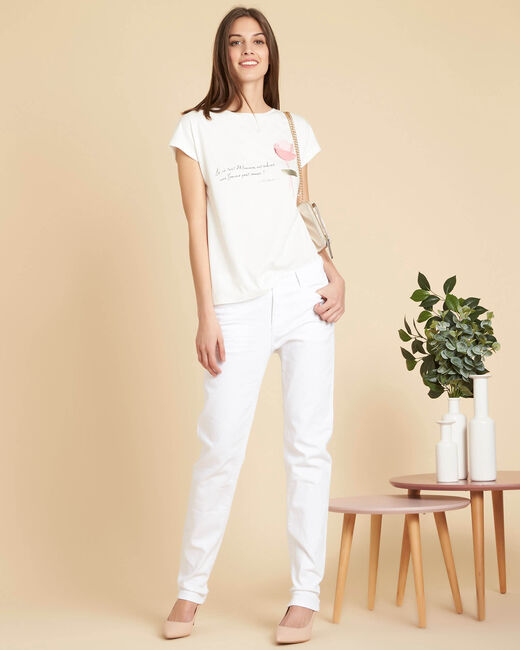Tee-shirt blanc à inscription Erose (2) - 1-2-3