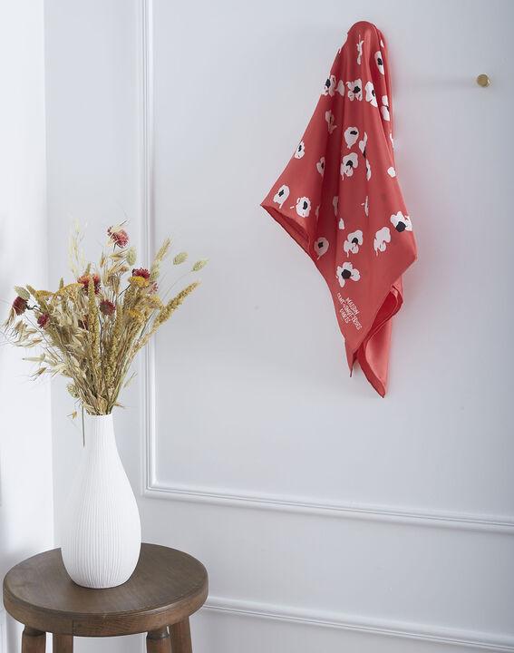 Carré de soie rouge imprimé fleuri en soie Osaka (1) - Maison 123