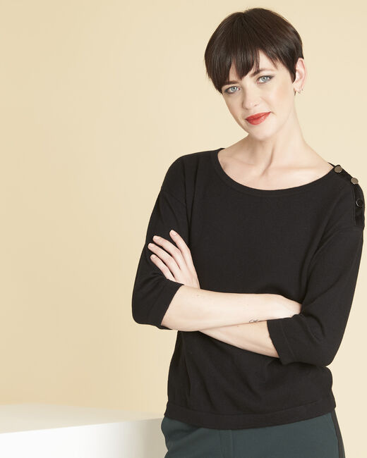 Betty black sweater with decorative detailing on the shoulders (2) - 1-2-3