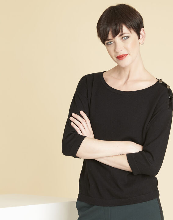 Betty black sweater with decorative detailing on the shoulders PhotoZ | 1-2-3