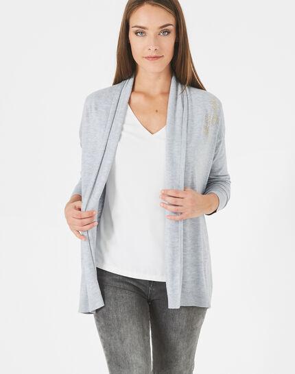Gilet chiné clair à strass façon veste Pluton (3) - 1-2-3
