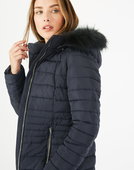 Rosie short navy blue puffer jacket with hood (4) - 1-2-3