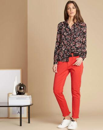 Rote jeans mit nieten und ungesäumten beinabschlüssen vendome rot.