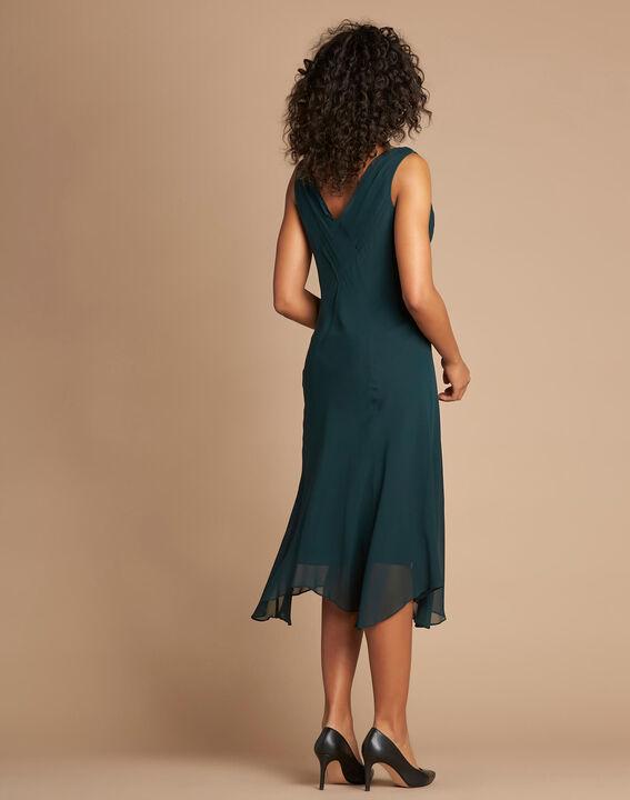 Foret forest green silk swirly midi dress (4) - 1-2-3