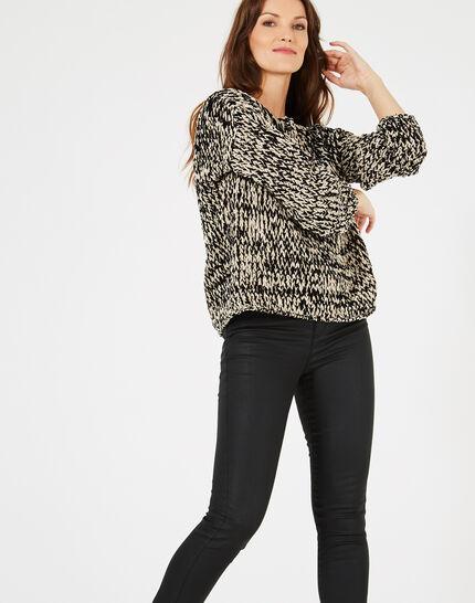 Schwarz-weißer Pullover aus grobem Strick Bico (3) - 1-2-3