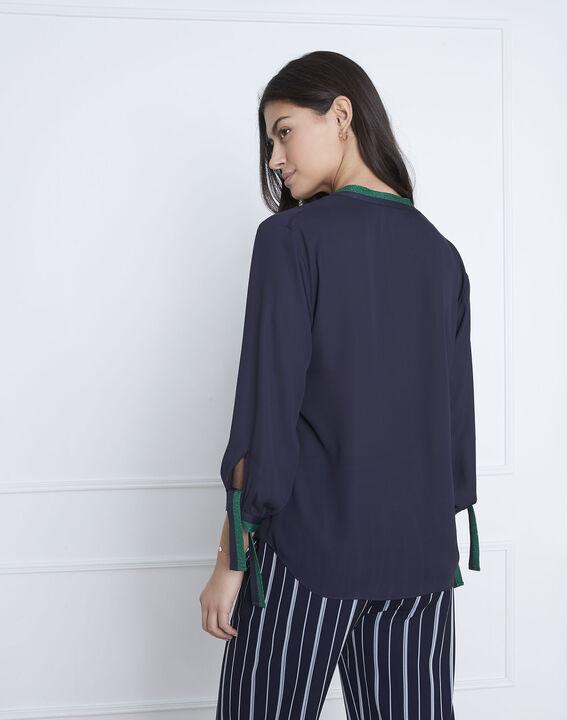 Marineblauwe blouse met contrasterende details Vicky (4) - Maison 123