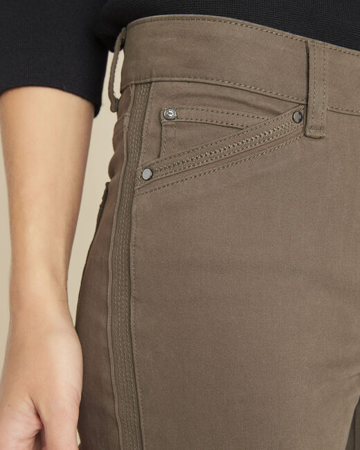 Opéra slim-cut khaki jeans with zip detailing (2) - 1-2-3