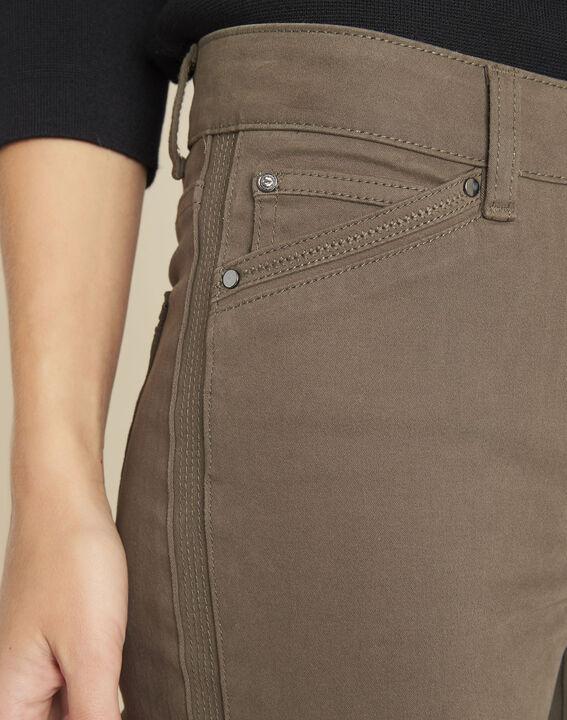 Khakifarbene Slim-Fit-Jeans mit Reißverschlüssen Opera (3) - 1-2-3