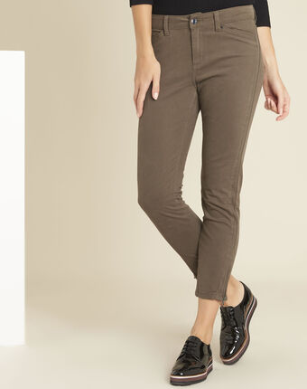 Opéra slim-cut khaki jeans with zip detailing leaf.
