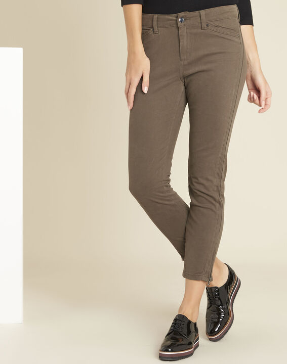 Opéra slim-cut khaki jeans with zip detailing PhotoZ | 1-2-3