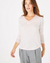 Puderrosa pullover mit v-ausschnitt pépite hellrosa.