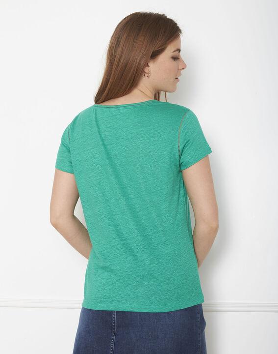 Tee-shirt vert jour échelle en lin Pin (3) - Maison 123