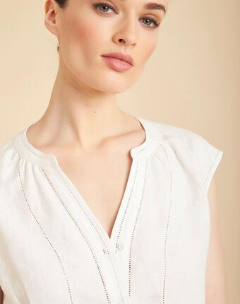 Gina ecru linen top with mandarin openwork collar ecru.