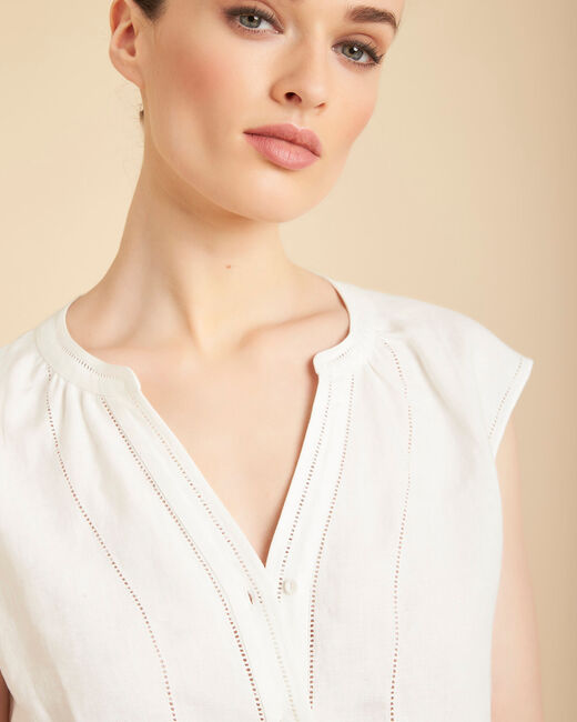 Gina ecru linen top with Mandarin openwork collar (1) - 1-2-3