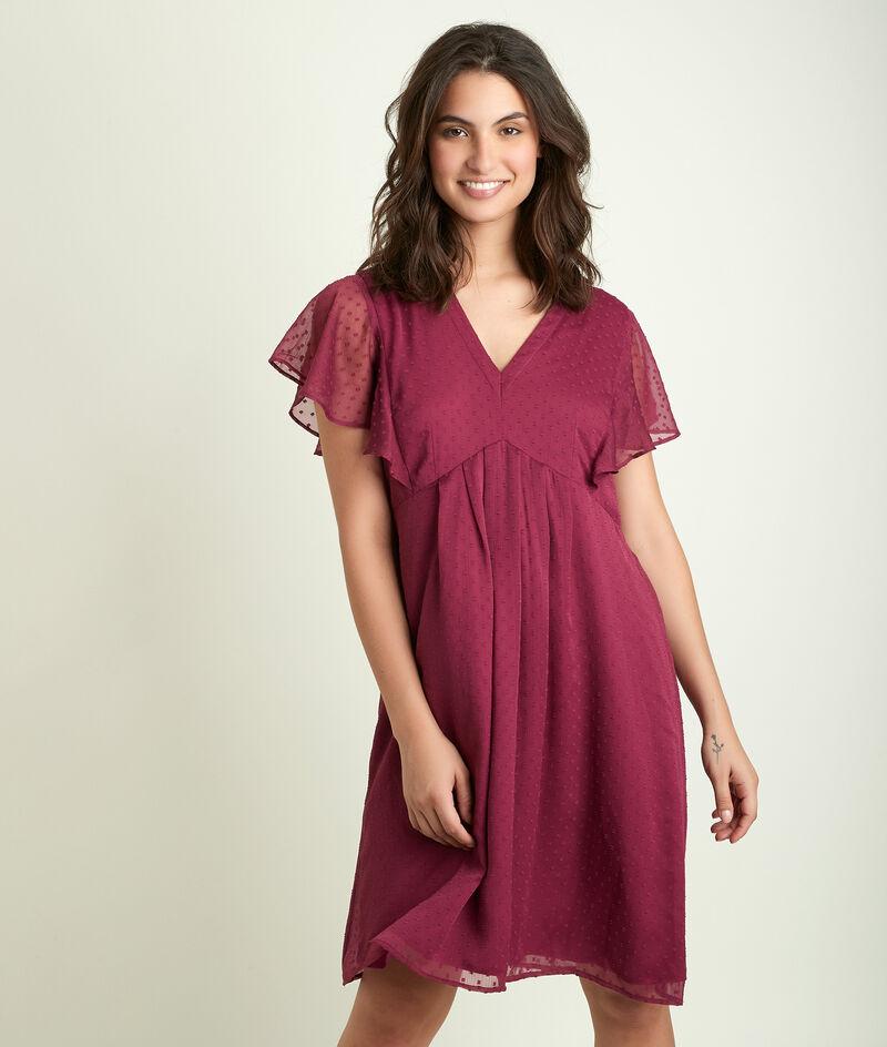 Granaatrode jurk met plumetis Calissa PhotoZ | 1-2-3