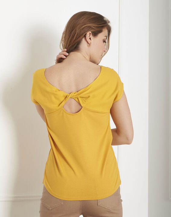 Tee-shirt jaune encolure dentelle Passion (3) - Maison 123