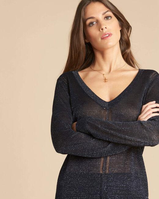 Marineblauer glänzender Pullover mit Ajour-Streifen Noisetier (1) - 1-2-3