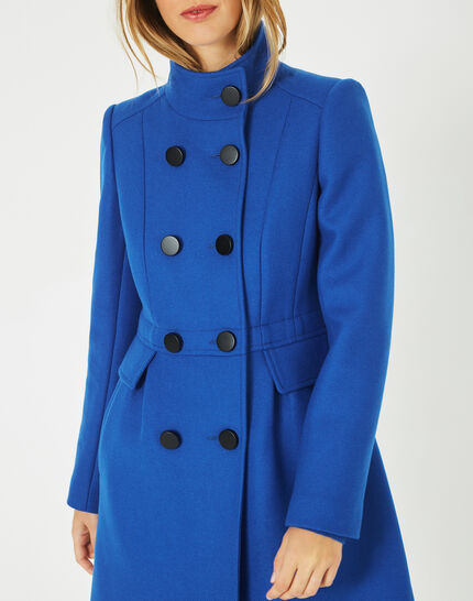 Jasmin wool mix blue coat with high collar (3) - 1-2-3
