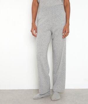 Pantalon large en cachemire recyclé gris clair Tanis
