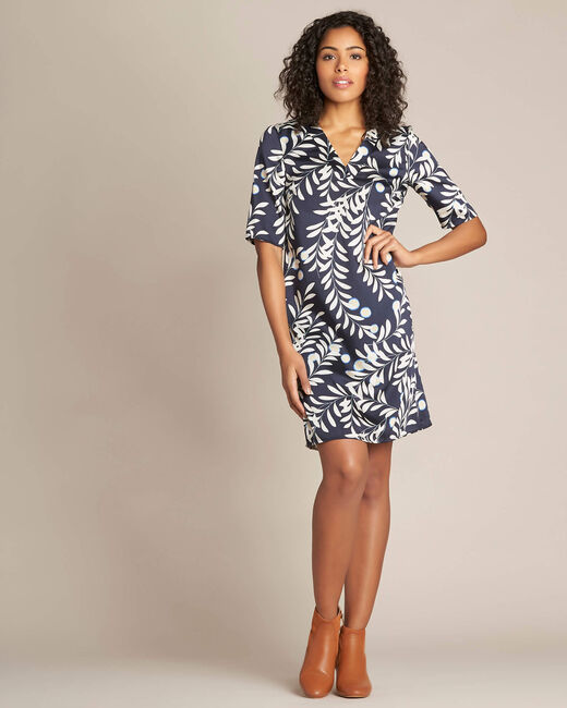 Power navy floral print straight-cut dress (1) - 1-2-3