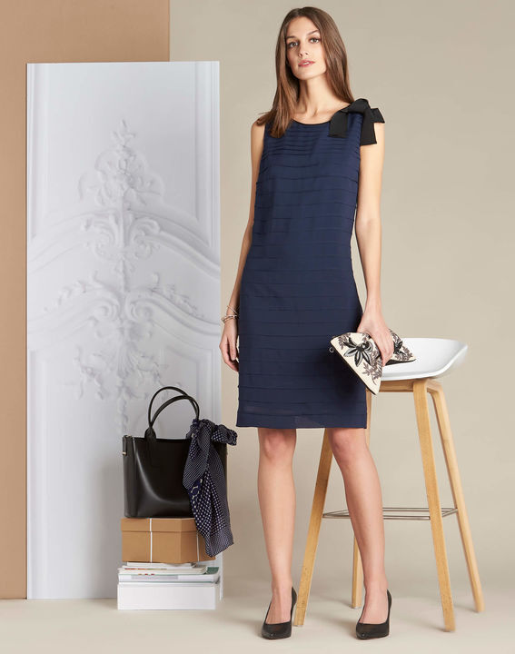 Ines silk navy dress with frilled detailing (4) - 1-2-3