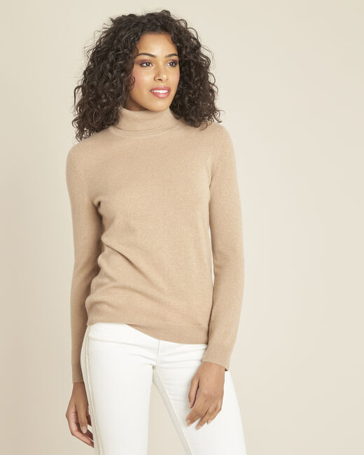 Perceneige camel polo-neck cashmere sweater (2) - 1-2-3