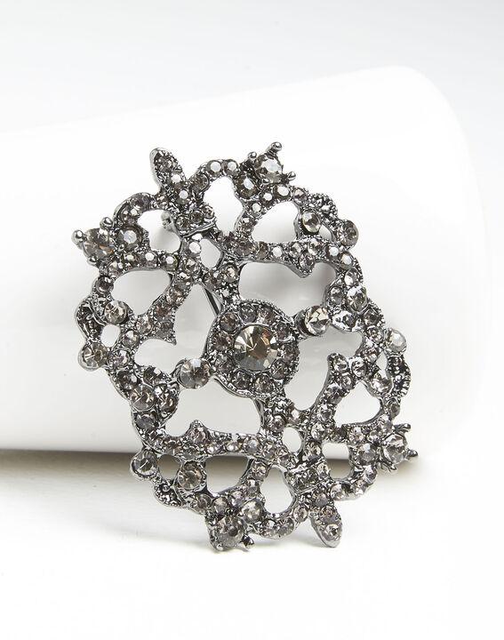 Broche met zilverkleurige blad en steentjes Xena (2) - Maison 123
