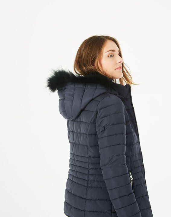 Rosie short navy blue puffer jacket with hood (5) - 1-2-3